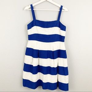 LOFT Striped Fit and Flare Dress